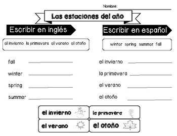 Calendar and Season Activities in Spanish