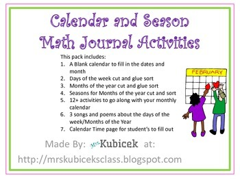 Calendar and Seasons Math Journal Activities