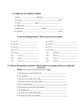 Calendar and Time Practice Worksheet