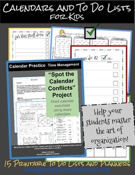 Calendar and To Do Lists for Kids: