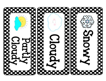 Calendar and Weather Cards Black Polka Dot