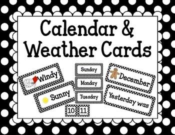 Calendar and Weather Cards Black Polka Dot