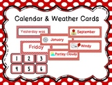 Calendar and Weather Cards-Red Polka Dot
