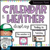 Calendar and Weather Chart {Sassoon Font - Polka Dot}