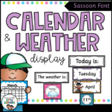 Calendar and Weather Chart {Sassoon Font - Polka Dot}