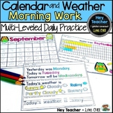 2019-2020 Monthly Calendars and Weather Differentiated Morning Work