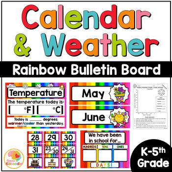 Calendar and Weather Set - Bright Rainbow Theme