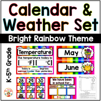 Calendar and Weather Set - Bright Rainbow Theme