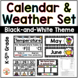 Calendar and Weather Set - Black and White Theme
