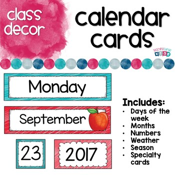 Calendar and Weather Set Red and Teal