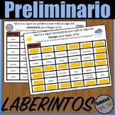 Calendar and Weather Vocabulary Mazes in Spanish