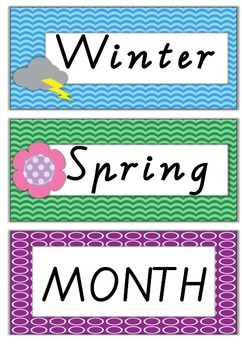 Calendar and Weather with months, days, dates, weather and seasons