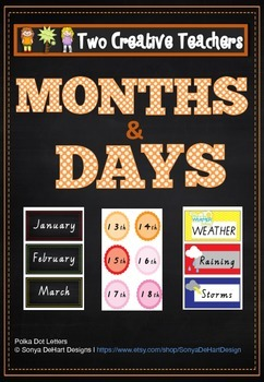 Calendar and Weather with months, days, dates, weather and