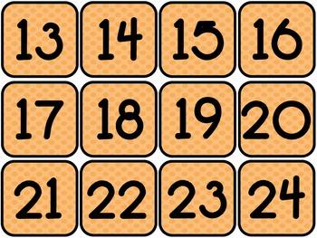 Calendar cards: 5 sets of polka dots