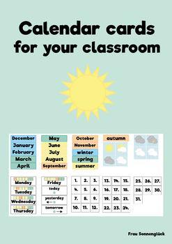 Calendar cards for your classroom