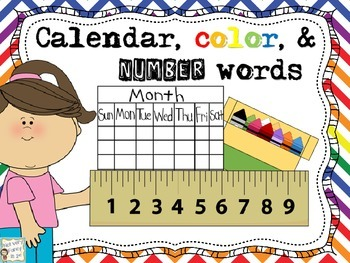 Calendar, color, and number words