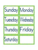 Calendar days of the week headings