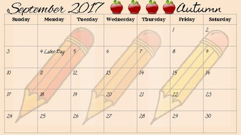 Calendar for 2017-2018 School Year