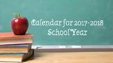 Calendar for 2017-2018 School Year