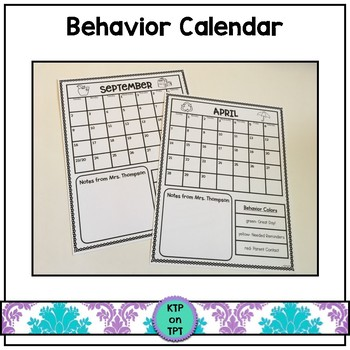 Custom Behavior Calendar (editable)