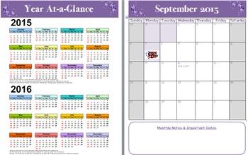 Calendar for Teacher Planner