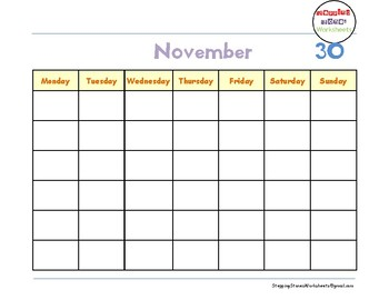 Calendar for all Years from September to February