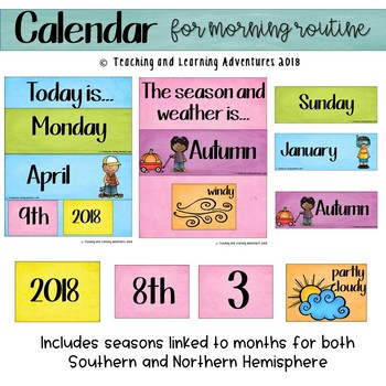 Calendar- for morning routines