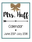 Calendar for the 2017-2018 School Year [Teal]