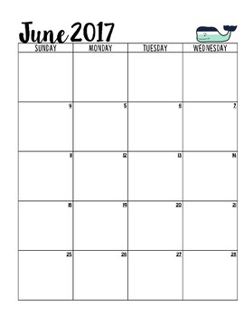 Calendar for the 2017-2018 School Year [Mint Whale]