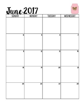 Calendar for the 2017-2018 School Year [Pink]