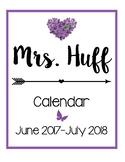 Calendar for the 2017-2018 School Year [Purple]