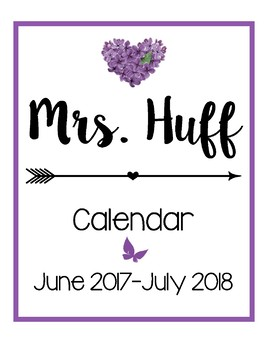 Calendar for the 2017-2018 School Year [Purple]