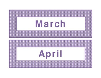 Calendar headings purple plaid in English