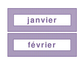 Calendar headings purple plaid in French
