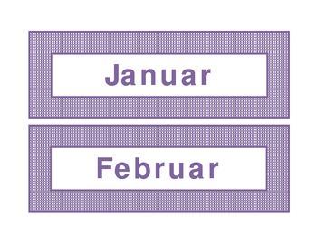 Calendar headings purple plaid in German