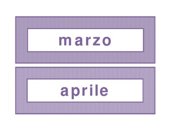 Calendar headings purple plaid in Italian