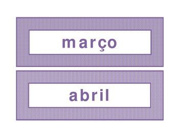 Calendar headings purple plaid in Portuguese