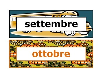 Calendar headings seasonal in Italian