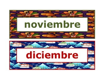 Calendar headings seasonal in Spanish
