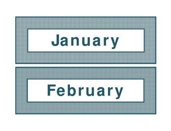 Calendar headings teal diamonds in English