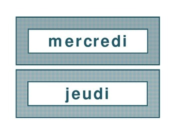 Calendar headings teal diamonds in French