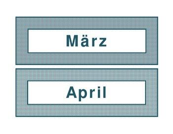 Calendar headings teal diamonds in German