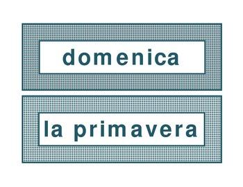 Calendar headings teal diamonds in Italian