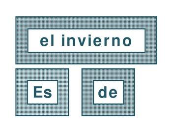 Calendar headings teal diamonds in Spanish