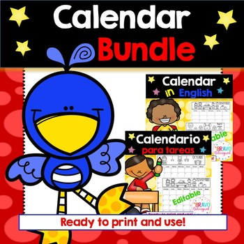 Calendar in English and Spanish 2019-2020 (Bundle)