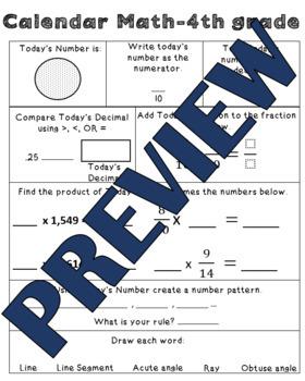 Calendar math Pages-2nd, 3rd, 4th Grades