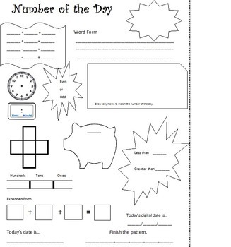 Calendar math meeting sheet