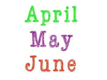Calendar months and days
