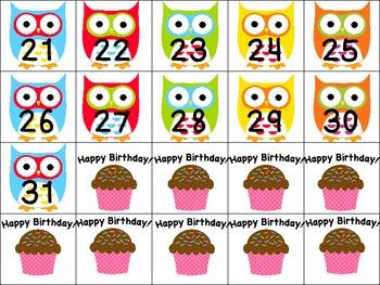 Calendar months & dates--Owls & Chevron theme