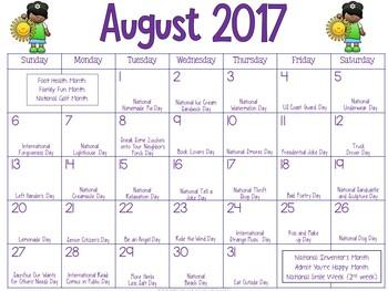 Calendar of Fun 2017-2018 School Year